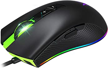 PICTEK RGB Gaming Mouse Wired - 6 Adjustable DPI High-Precision up to 10,000 - 8 Programmable Buttons - 7 RGB Backlit modes - USB Ergonomic Mice with Grip Sides - Laptop/PC Gaming(Matt Black)