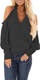 Women's Cold Shoulder Tops Long Sleeve Deep V-Neck Wrap Front Blouse Loose Pullover