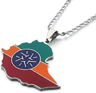 Ethiopian Flag Lion Map Pendant Necklace For Women Men Jewelry Map Chain