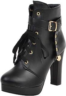 FANIMILA Women Fashion High Heels Booties Martin Boots Zipper