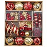 Valery Madelyn 60ct Luxury Red Gold Christmas Ball Ornaments Decor, Shatterproof Christmas Tree Ornaments for Xmas Decoration