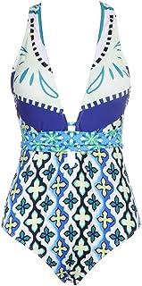 DSLSM 女性のための水着ローカットバックレスプリントパターン装飾ハイスクールウエストワンピース媚薬ビキニ (色 : 白, サイズ : XL)