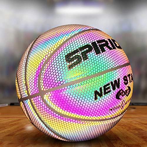 Gravere 7# Holographic Glowing Reflective Basketball, absorbierendes und strapazierfähiges Composite-Leder, Trainingsbasketball für den Innen- und Außenbereich, für Kindergeschenke, weiß Well-Matched