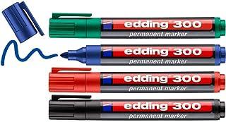 edding 300 permanent marker - zwart, rood, blauw, groen - 4 stiften - ronde punt 1,5-3 mm - watervast, sneldrogend - wrijf...