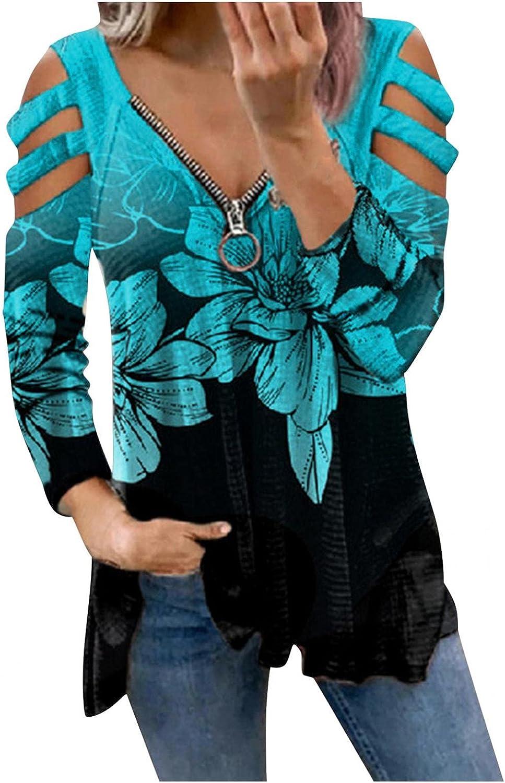 Sweatshirts for Women,Women's Zip Up Sweatshirts Oversized Flower Print Off Shoulder Trendy Long Sleeves Pullover