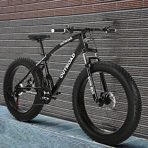 Outroad Mountain Bike 21 Speed Anti-Slip Bike 26 inch Fat Tire Sand Bike Double Disc Brake Suspension Fork Suspension, Black