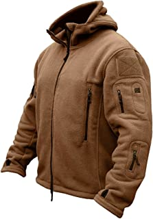 ReFire Gear Men's Warm Military Tactical Fleece Jacket Many Pockets Outdoor Sport Hoodies Coat