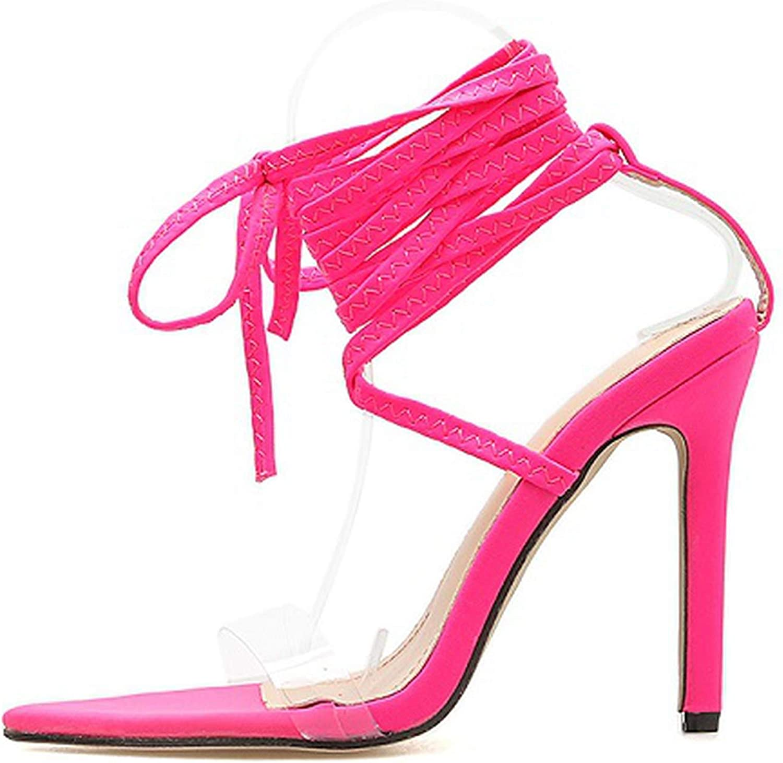Fluorescent Sandals Ankle Strap Cross-Strap Woman PVC Sandals 12.5Cm High Heels Party Sandals