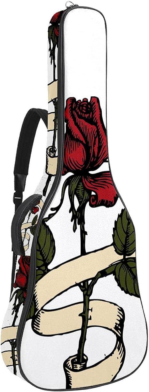 Funda de Guitarra Flor rosa roja Bolso de guitarra 40 41 pulgadas 10mm Acolchada con 2 bolsillos para Guitarra Acústica Clásica y Eléctrica 109x43x12cm