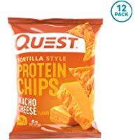 12-Pack Quest Nutrition Tortilla Style Protein Chips, Nacho Cheese, Low Carb, Gluten Free, Baked, 1.1 Ounce
