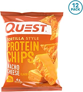 Quest Nutrition Tortilla Style Protein Chips, Nacho Cheese, Low Carb, Gluten Free, Baked, 12 Count
