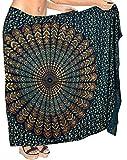 LA LEELA Mandala de Lotus Ropa de Playa Traje de baño Bikini Encubrir Sarong para Mujer del Traje de baño Traje de baño 78'X39' Azul Marino_D297