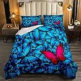 Juego de edredón estampado de mariposa azul, tamaño individual, con diseño de mariposa roja para decoración de habitación, edredón acolchado con diseño de animales de insectos