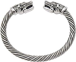 YNuth Hombres Pulsera Vikings del Diseño Cabeza de Lobo Brazalete Vikingo Abierta Tono Plateado