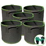 Sacco per piantare 5 Pezzi Sacco per piantare con Manici Sacco per piantare Piante Traspiranti per pomodori, Patate , Fiori, Piante e Altro Vaso per Piante 5 galloni (20L)