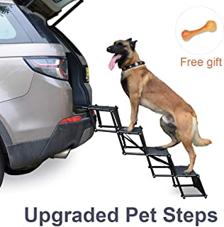 Upgraded Nonslip Car Dog Steps, Portable Metal Fram Large Dog Stairs for High Beds, Trucks, Cars and SUV, Lightweight Folding Pet Ladder Ramp with Wide Steps can Support 150 Lbs Large Dogs, Black