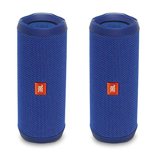 JBL Flip 4 Waterproof Portable Wireless Bluetooth Speaker Bundle - (Pair) Blue