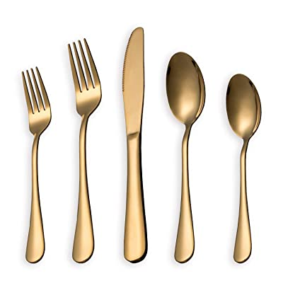 HOMQUEN 5-Piece Golden Set Service for 1, Stain...