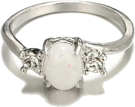 Epinki Ring for Women Girls Oval Opal Eternity Anniversary Wedding Band Ring
