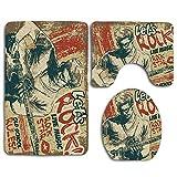 N\A Entretenimiento Rock and Roll Personas Tocando la Guitarra en Alfombrillas de baño Vintage Antideslizante Absorbente Asiento de Inodoro Funda de baño Alfombrilla Tapa 3pcs / Set Alfombras