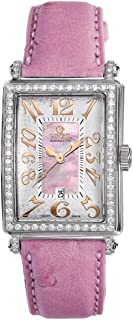 Gevril Women`s 7248RL.10A Pink Mother-of-Pearl Genuine Ostrich Strap Watch
