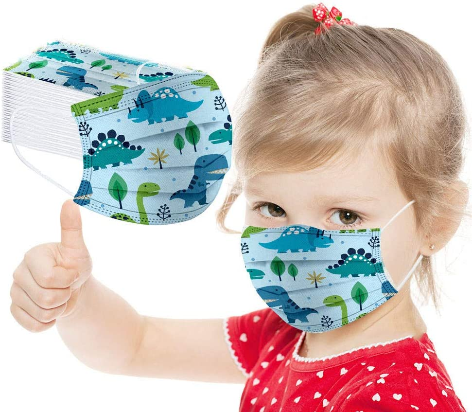 Jeeke-01 50PCS Kids Disposable Face Protection 3 Layer Face Bandanas Breathable Dust Proof Safety with Elastic Strap Earloops Childrens Outdoor School Everyday Use