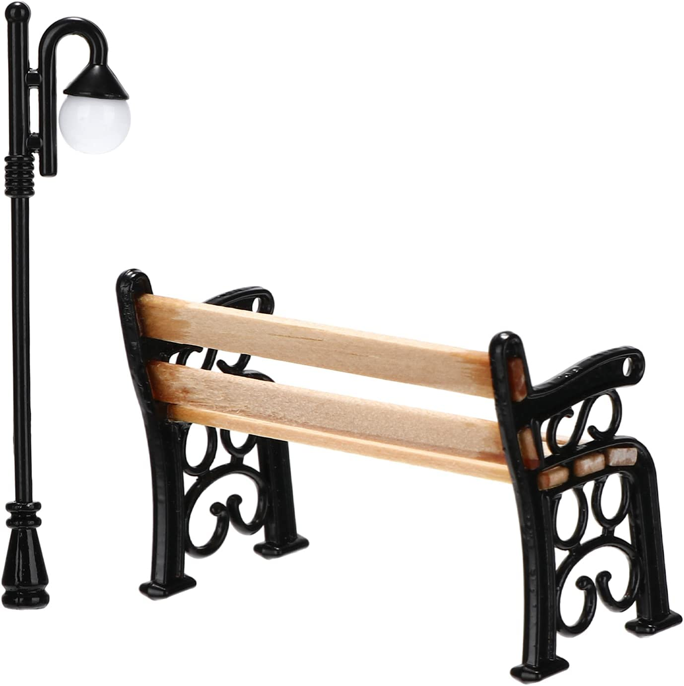 YARNOW 1 Set Miniature Park Street Lamp and Post OFFer 5 popular Bench