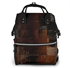 Cowhide Patchwork Texture Diaper Bag Backpack Maternity Baby Nappy Changing Bags Shoulder Bag Organizer Multi-Function Travel Backpack