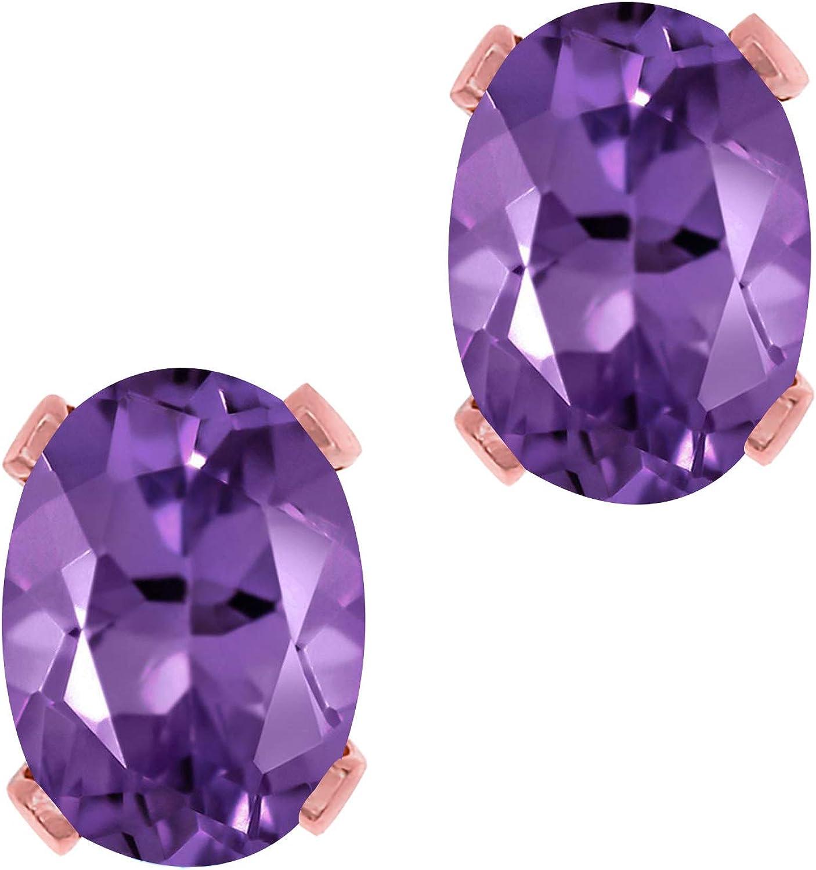 Gem Stone King 1.50 Ct Oval Jacksonville Mall New mail order Rose Amethyst Brass Gol 7x5mm Purple