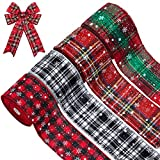 4 Rolls Christmas Snowflake Plaid Ribbon Christmas Check Wrapping Ribbon Buffalo Plaid Gingham Wired Edge Ribbon for Christmas Wrapping Decoration, 236 x 2.52 Inches Each