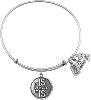 Wind & Fire It Is What It Is Silver Finish Charm Bangle