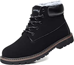 gracosy Men's Lace Up Ankle Boots, Winter Fur Lined Warm