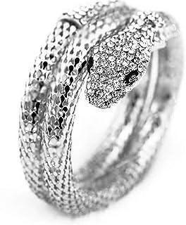 Ailiessy Vintage Snake Arm Cuffs Bracelets Personalized Rhinestone Dragon Snake Head Bracelet Multi-Layer Screw Snake Bang...