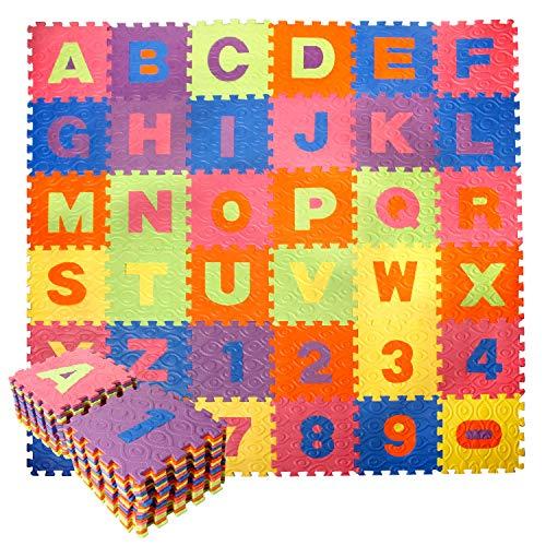 CCLIFE 36 Piezas Alfombra Puzzle para Niños Goma Espuma Suave Eva alfombras Alfombra Puzzle para Niños Bebe Infantil, Color:DSZMT003A36ERcol