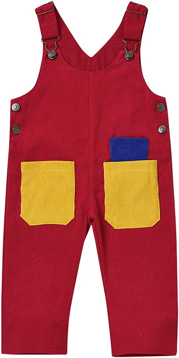 Toddler Unisex Corduroy Overall Los Angeles Mall Solid Butt At the price Adjustable Pocket Bib