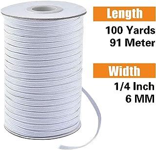 6mm Goma Elastica Costura Elastico Costura Elástica Cinta Elástica Blanca para Coser Ropa de Ocio Creativa DIY 91Metros (Blanca)