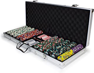 500 Count Poker Knights Poker Set - 13.5 Gram Clay Composite Chips with Aluminum Case, Playing Cards, & Dealer Button for Texas Hold'em, Blackjack, & Casino Games by Claysmith Gaming