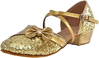 XFentech Delicated Girls Flat Princess Shoes Performanced Latin Dance Shoes