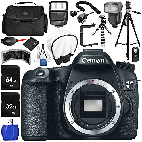 Canon EOS 70D DSLR Camera (Body Only) 17PC Accessory Bundle - Includes 64GB SD Memory Card + 32GB SD Memory Card + Memory Card Reader + Memory Card Wallet + MORE