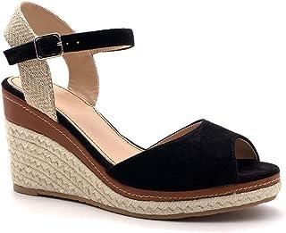 Angkorly - Chaussure Mode Sandale Espadrille lanière Cheville Plateforme Bohème Femme Corde avec de la Paille tressé Talon...