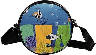 Coosun Umhängetasche mit Meeresfisch-Motiv, rund, Schultertasche für Kinder und Damen