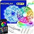 82 Ft/25m LED Strip Lights?Micomlan Music Sync Color Changing RGB LED Strip Built-in Mic, Bluetooth app Controlled LED Lights Rope Lights, 5050 RGB LED Light Strip(APP+Remote+Mic+Music +3 Button)