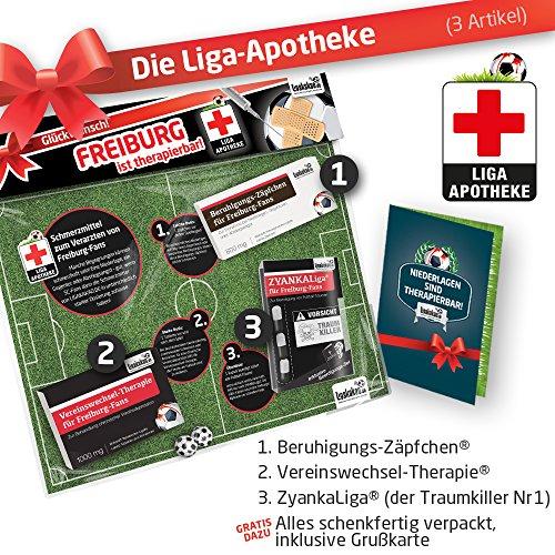 Geschenk-Set: Die Liga-Apotheke für Freiburg-Fans | 3X süße Schmerzmittel für Freiburg Sportclub Fans | Die besten Fanartikel der Liga, Besser als Trikot, Home Away, Fan-Schal