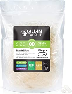 ALL-IN Capsule - 1000 Count Clear Empty Vegetarian Capsules Size 00 - Compatible with Capsule Filling Machine - Fillable w...