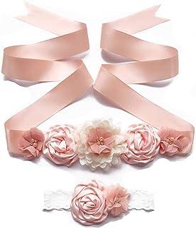 Maternity Sash Belts with Baby Headband Set Floral Baby Shower Sash Bridesmaid Flower Girl Belts