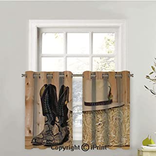LIFEDZYLJHGO 1 Pair Tier Curtains for Kitchen Curtains Water Repellent Short Half Window Curtains for Bathroom, Snake Skin Cowboy Boots Timber Planks in Barn with Hay Old West Austin Texas,42