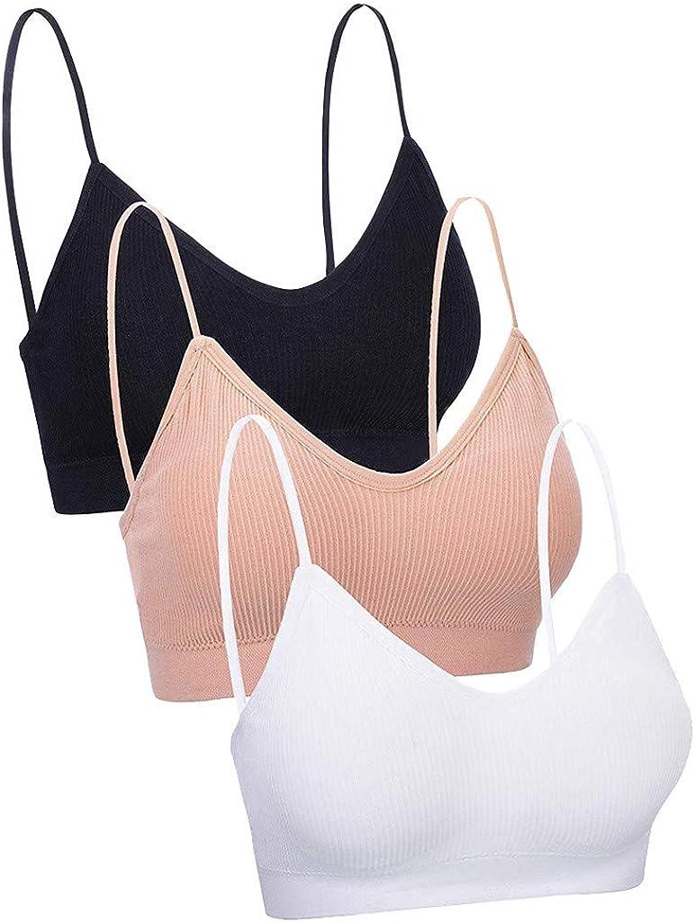 3 Pieces Women Adjustable Strap Tank Crop Tops Seamless Padded Camisole Bandeau Tube Bra Adjustable Sleep Bra