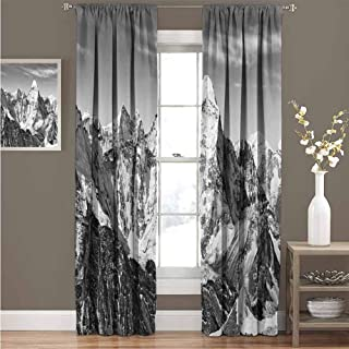 Black and White Polyester Window Curtains with Grommets Barcode Pattern Abstraction Vertical Stripes in Grayscale Colors Blackout Curtains for Nursery Room W108 x L97 Inch Black Grey White
