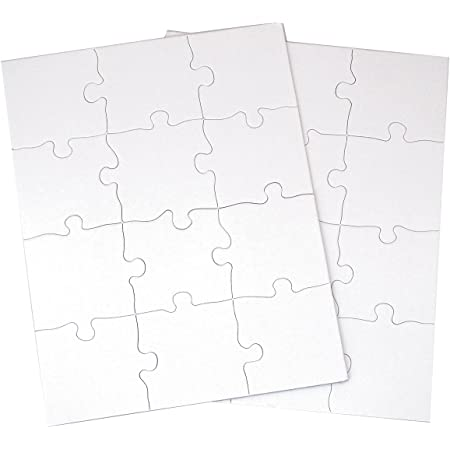 """Inovart Puzzle-It 12-Piece Blank Puzzle, 24 Puzzles Per Package, 8-1/2"""" x 11"""", White"""