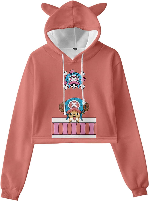 AMOMA Anime One Piece Cartoon Luffy Zoro Cosplay Cat Ear Crop Top Hoodie Sweatshirt for Girls Women